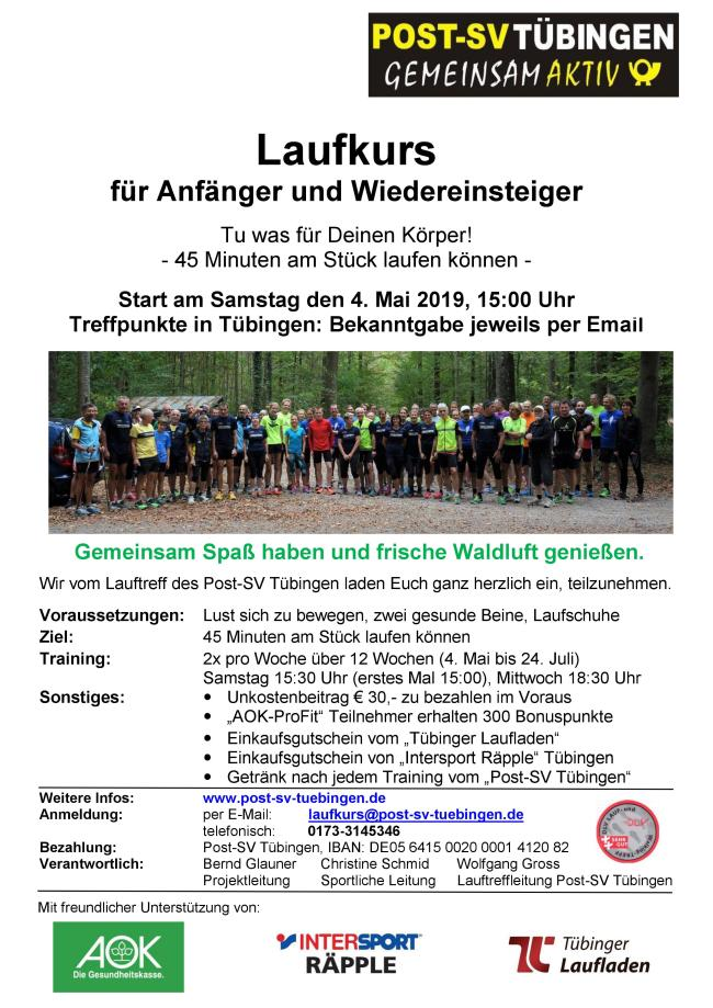 Flyer Anfngerlaufkurs Post SV 2019 650